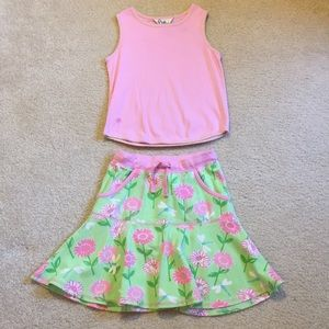Lily Pulitzer skirt and tank top outfit